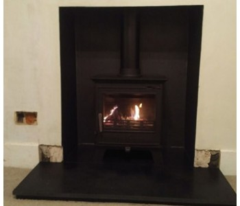ACR Malvern Multi-fuel Stove Installation - with honed black granite hearth fitted in Guildford, Surrey.