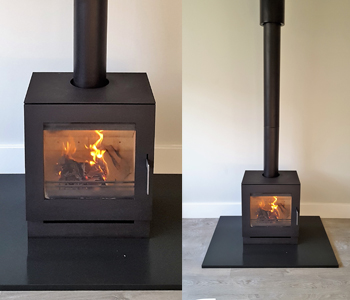 Westfire Uniq 23 Woodburner - in black with 100mm block base. Installed in Sevenoaks, Kent
