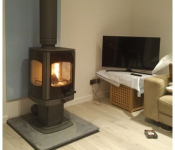 Charnwood Tor Pico Three Sided Wood Burning Stove  - in Gun Metal with Riven slate hearth, direct air kit, twin wall thermally insulated chimney system also in gun metal.