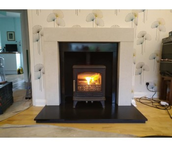 ACR Stoves Oakdale multi fuel  -  with limestone fire surround with slate slips and header on existing hearth