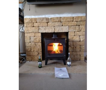 Cleanburn Lovenholm woodburner - with Cotswold stone hearth