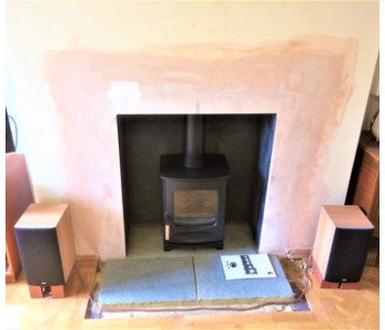 Charnwood C4 Wood Burning Stove in black - installed in Guildford, Surrey.