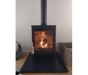 Parkray Aspect 5 Wood Burner - with stand installed in Bramley in the Surrey Hills on a slate hearth with chimney system.