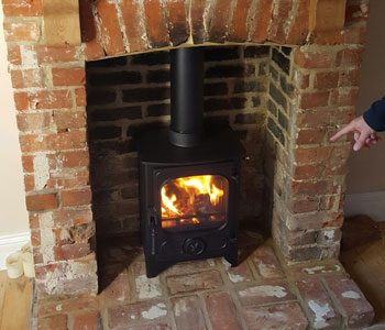 Charnwood Country 4 Wood Burner - installation in Send between Woking and Guildford, Surrey.
