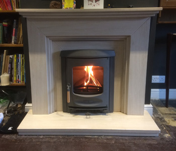 Charnwood C4 Insert Multifuel Stove - in Gun Metal. Installed near Leatherhead, West Horsley
