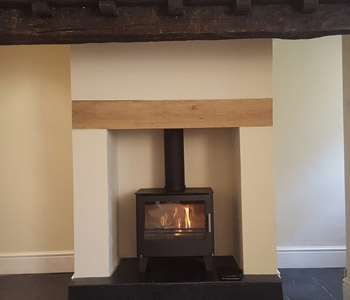 Westfire Series Two Multifuel Stove - in black. Installed in Addlestone near Weybridge, Surrey
