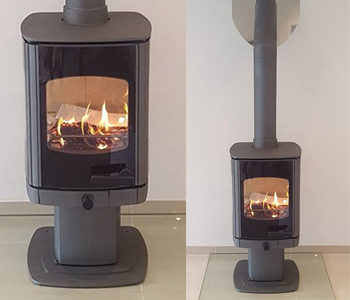 Charnwood Tor Pico Woodburner - in black with glass hearth. Installed in Bramley near Godalming, Surrey