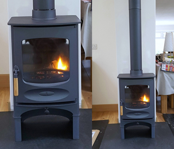 Charnwood C4 Woodburner - in blue with store stand and an antique granite. Installed in Reigate, Surrey