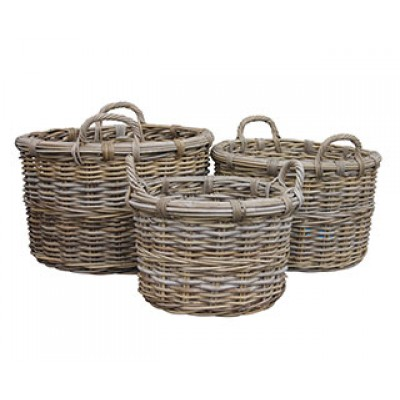 Round Log Basket With Ear Handles & Removable Hessian Liner (Small)
