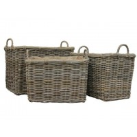 Square Rattan Log Basket With Ear Handles (Large)