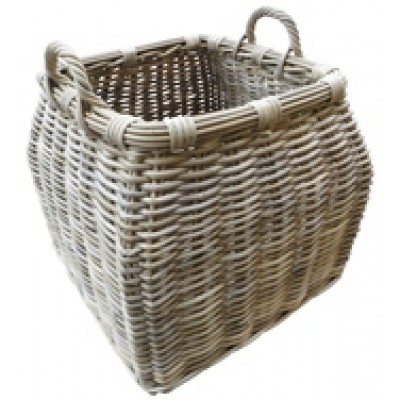 Handcrafted round top square bottom baskets with ear handles.