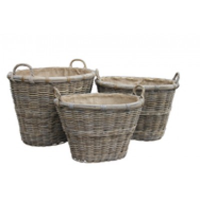 Oval Log Basket With Ear Handles & Removable Hessian Liner (Medium)