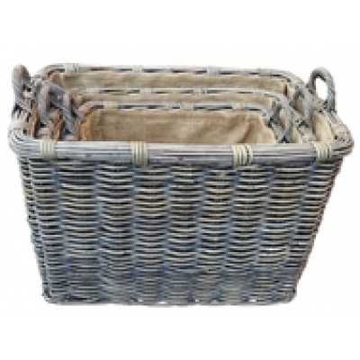 Rustic Rectangle Log Basket With Ear Handles & Removable Hessian Liner (Small)